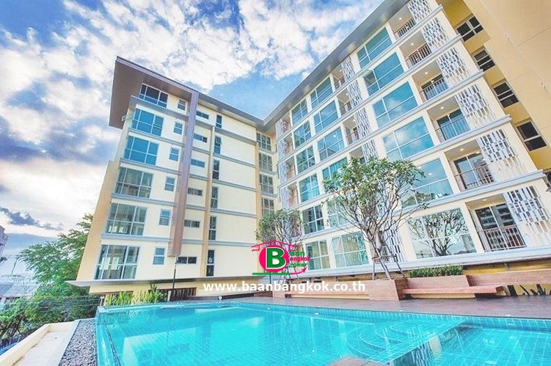 คอนโดมิเนียม โครงการ The Series Udomsuk สูง 8 ชั้น อยู่ชั้นที่ 8 เนื้อที่ 48.76 ตรว. มี 1 นอน 1 น้ำ ถนนสุขุมวิท เขตพระโขนง