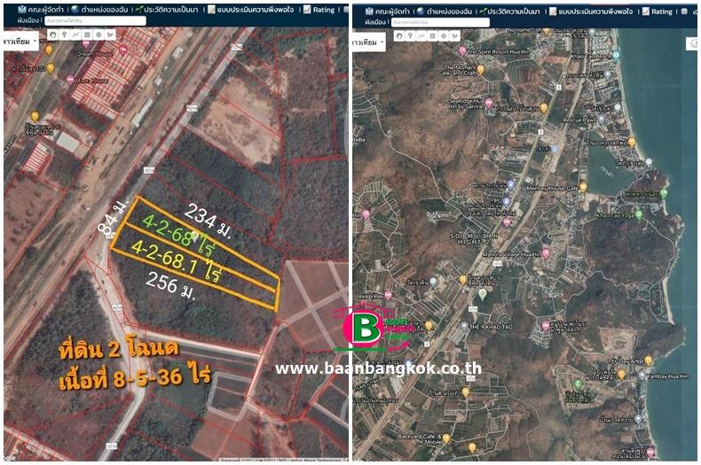 ที่ดินถมแล้ว บนทางหลวงเเผ่นดินหมายเลข 1019 เนื้อที่ 9-1-36.1 ไร่ ถนนเพชรเกษม อ.ปราณบุรี จ.ประจวบคีรีขันธ์